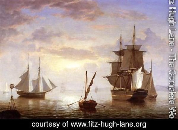 Fitz Hugh Lane - Ships in a Harbor, Sunrise
