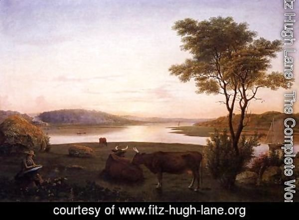 Fitz Hugh Lane - New England Inlet with Self Portrait