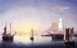 Fitz Hugh Lane - Gloucester Harbor at Sunset