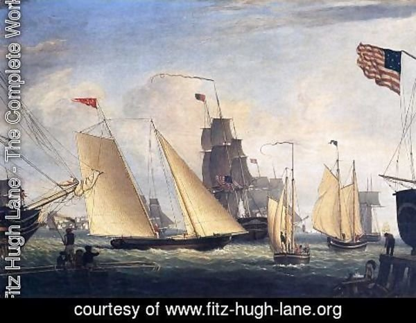Fitz Hugh Lane - Yacht 'Northern Light' in Boston Harbor