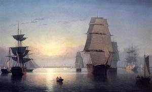 Fitz Hugh Lane - Boston Harbor at Sunser