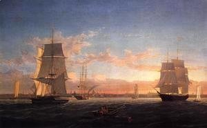 Fitz Hugh Lane - Boston Harbor at Sunser I