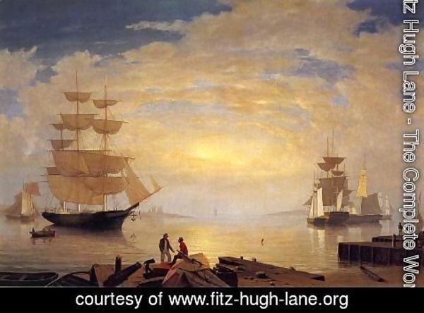 Fitz Hugh Lane - Gloucester Harbor at Sunrise