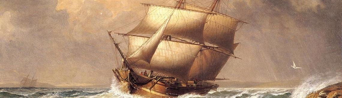 Fitz Hugh Lane - Merchant Brig under Reefed Topsails