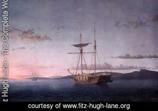 Fitz Hugh Lane - Lumber Schooners at Evening on Penobscot Bay