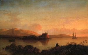 Fitz Hugh Lane - Sunrise on the Maine Coast, Mount Desert Island