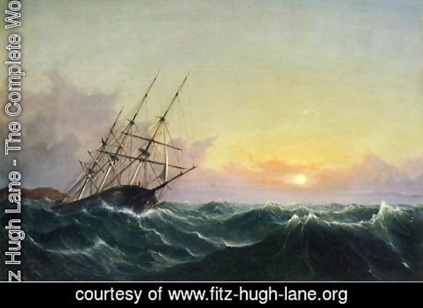 Fitz Hugh Lane - A Storm, Breaking Away, Vessel Slipping Her Cable