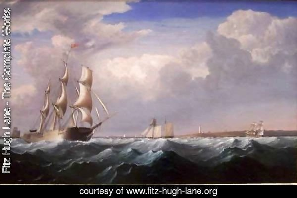 Sailing Ships off the New England Coast
