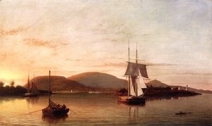 Camden Mountains from the South Entrance to the Harbor  1859