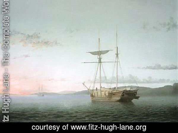 Fitz Hugh Lane - Lumber Schooners at Evening on Penobscot Bay  1860