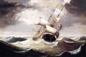 Fitz Hugh Lane - Three-Master in Rough Sea  1856